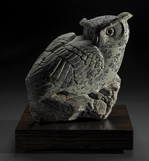 Primary view of The Gleaner, a soapstone owl by Clarence P. Cameron of Madison, Wisconsin