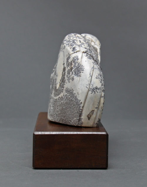 A view of the other side of dendritic Soapstone Owl #20 by Clarence P. Cameron of Madison, Wisconsin