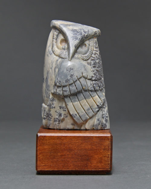 A larger photo of the front of Soapstone Owl 17 by Clarence P. Cameron of Madison, Wisconsin