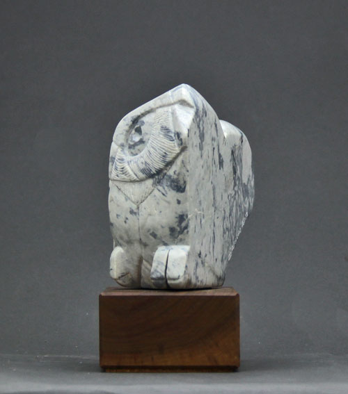 A photo of a side view of Soapstone Owl #30