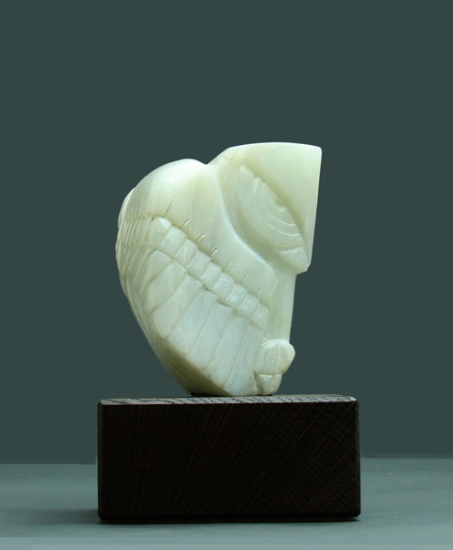 Another side view of Soapstone Owl #3 by Clarence P. Cameron of Madison, WI
