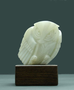 Soapstone Owl #3 - A carving in dendritic soapstone by Clarence P. Cameron of Madison, Wisconsin