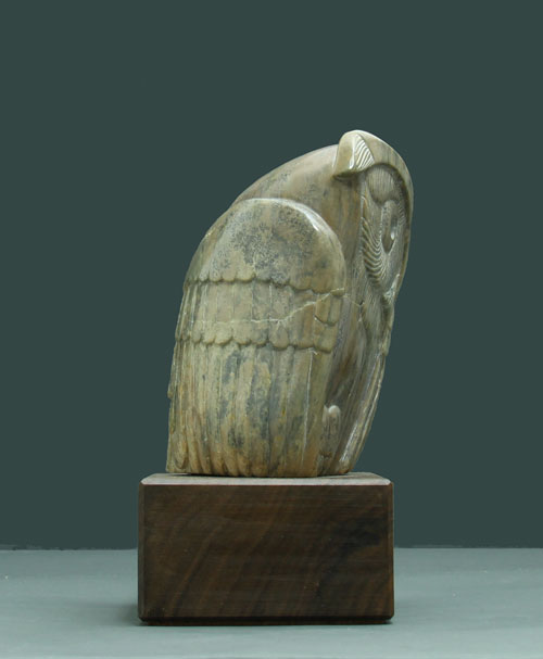 A photo of the other side of SOapstone Owl #21