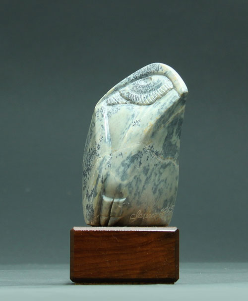 A side view of Soapstone Owl #15