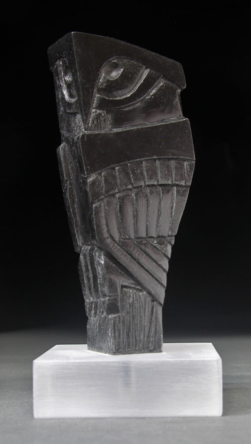 A larger photo of the front of Soapstone Owl #17 by Clarence P. Cameron