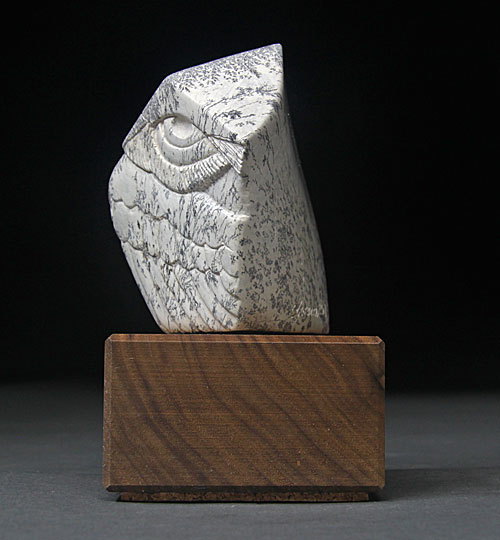 A view of one side of Soapstone Owl #22