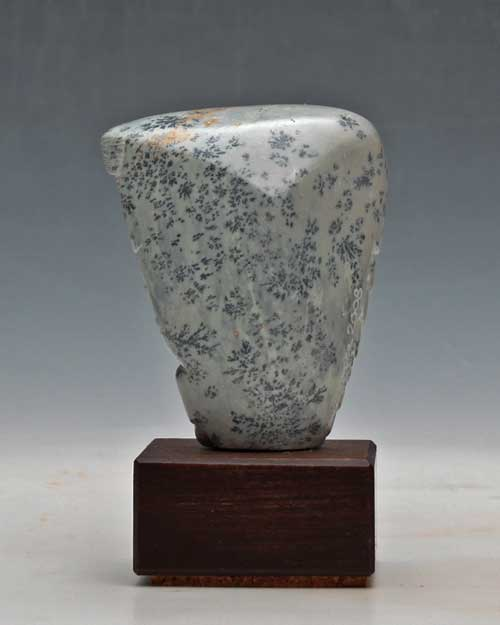 Another view of dendritic Soapstone Owl #26 by Clarence P. Cameron of Madison, Wisconsin