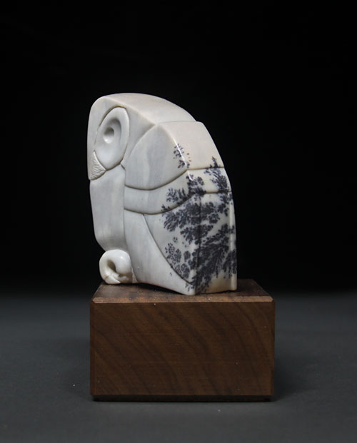 A larger photo of one side of Soapstone Owl #4