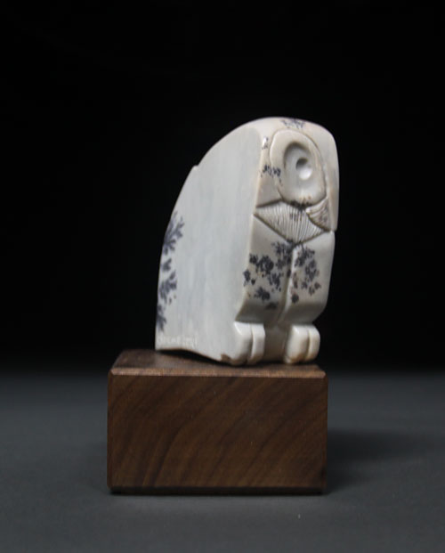 A larger photo of the other side of Soapstone Owl #4