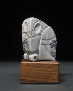 Soapstone Owl #4 - A carving in dendritic soapstone by Clarence P. Cameron of Madison, Wisconsin