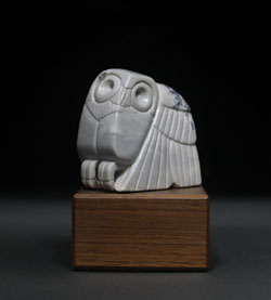 Soapstone Owl #8 - A carving in dendritic soapstone by Clarence P. Cameron of Madison, Wisconsin.