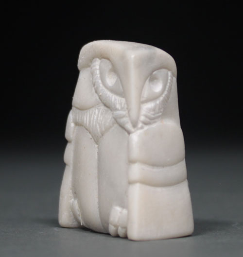 A larger photo of the front of Soapstone Owl #27 by Clarence P. Cameron of Madison, Wisconsin