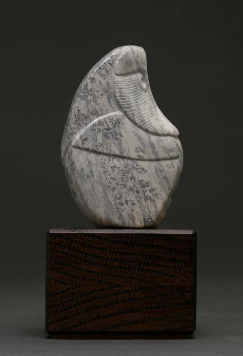 Another view of dendritic Soapstone Owl #18 by Clarence P. Cameron of Madison, Wisconsin