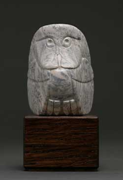 A photo of dendritic Soapstone Owl #18 by Clarence P. Cameron of Madison, Wisconsin