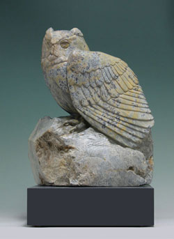 Watchful Waiting, a dendritic soapstone owl by Clarence P. Cameron of Madison, Wisconsin