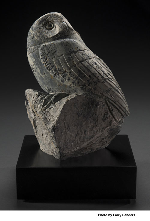 A larger photo of the front of Moonstruck, a larger soapstone owl by Clarence P. Cameron of Madison, Wisconsin